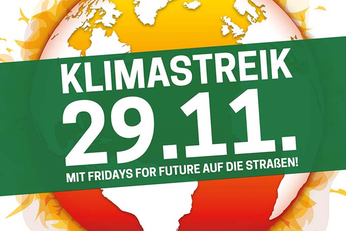 Aktionsbanner - Klimastreik November 2019